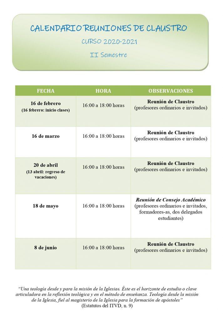 Calendario Reuniones de Claustro 2020-2021
